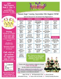 2020 Fall Dance Schedule